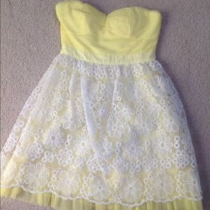 NWT-Minuet strapless floral lace overlay dress